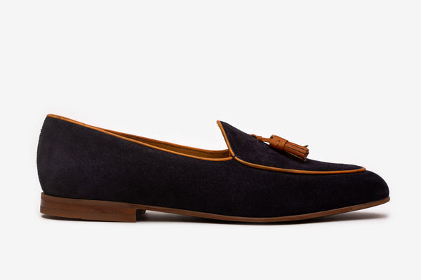Navy Suede Belgian Loafers With Tan Tassles
