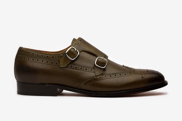 Olive Double Monk With Wingtip