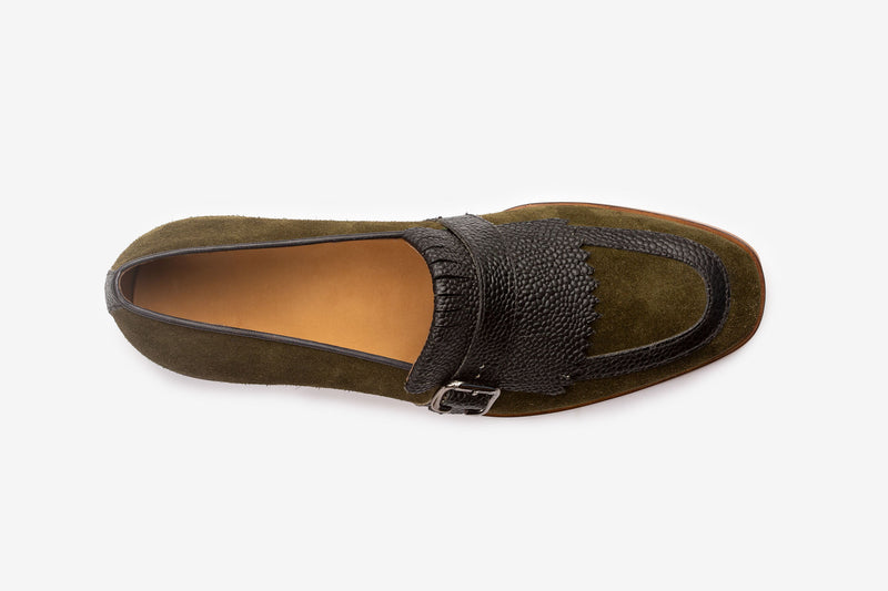 Olive Suede Slipon With Pebble Grain Detail