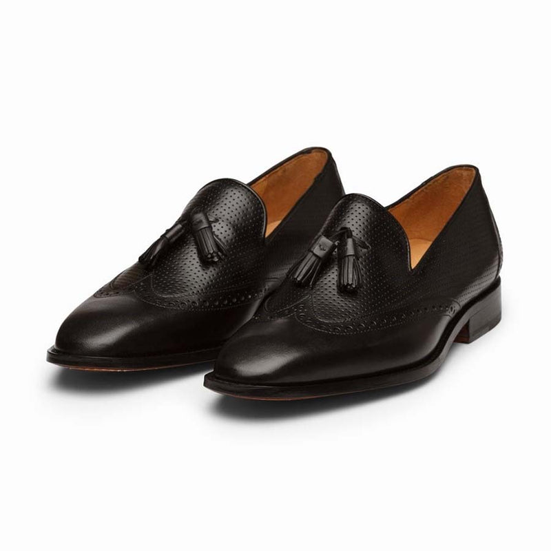 Black Perforated Tassel Loafers