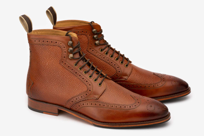 Tan Derby Boot With Grain Detail