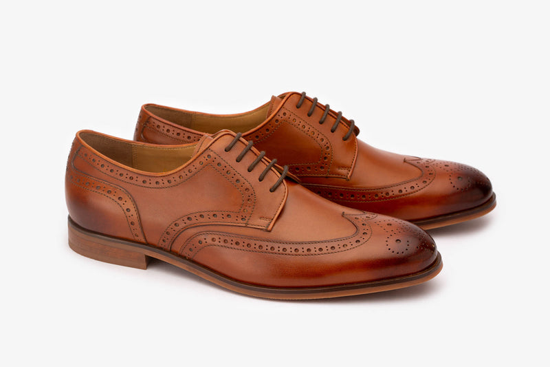 Tan Detailed Derby Brogue