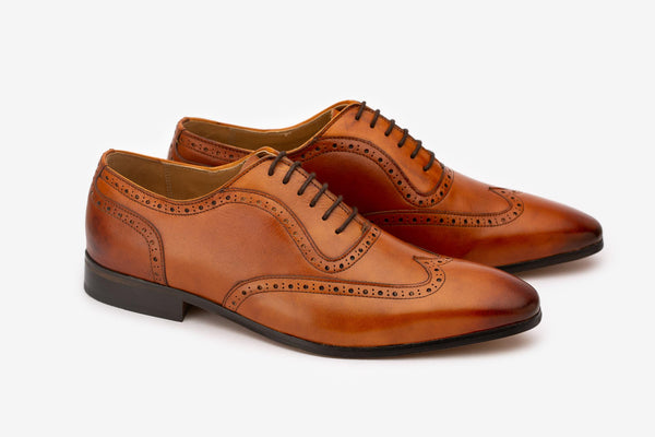 Tan Detailed Wingtip Oxford