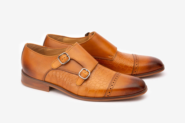 Tan Double Monks With Crocodile Detail