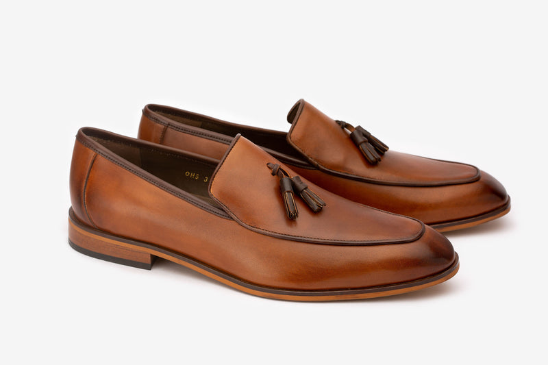 Tan Square Toe Loafer With Brown Tassels