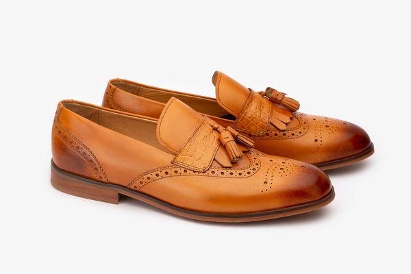 Tan Tassel Croco Detailed Wingtip Loafer