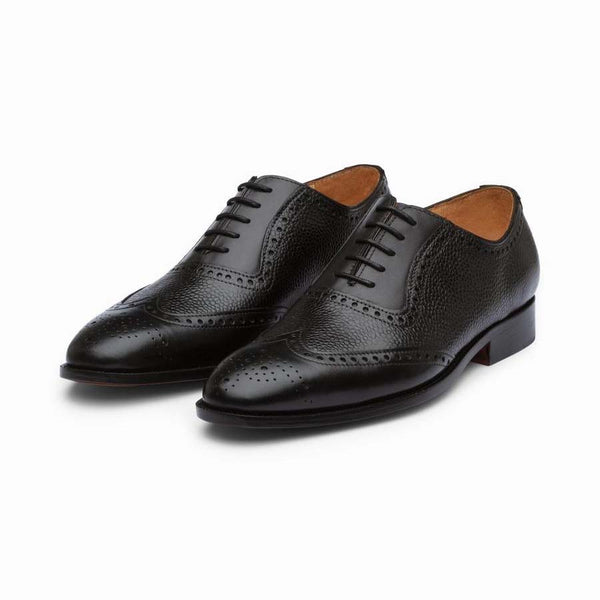 Black Brogues with Pebble Grain Detail