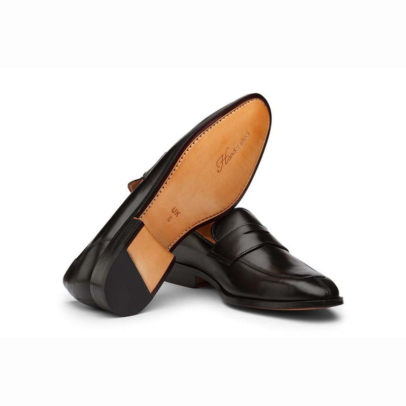Black Square Toe Penny Loafers with Split toe