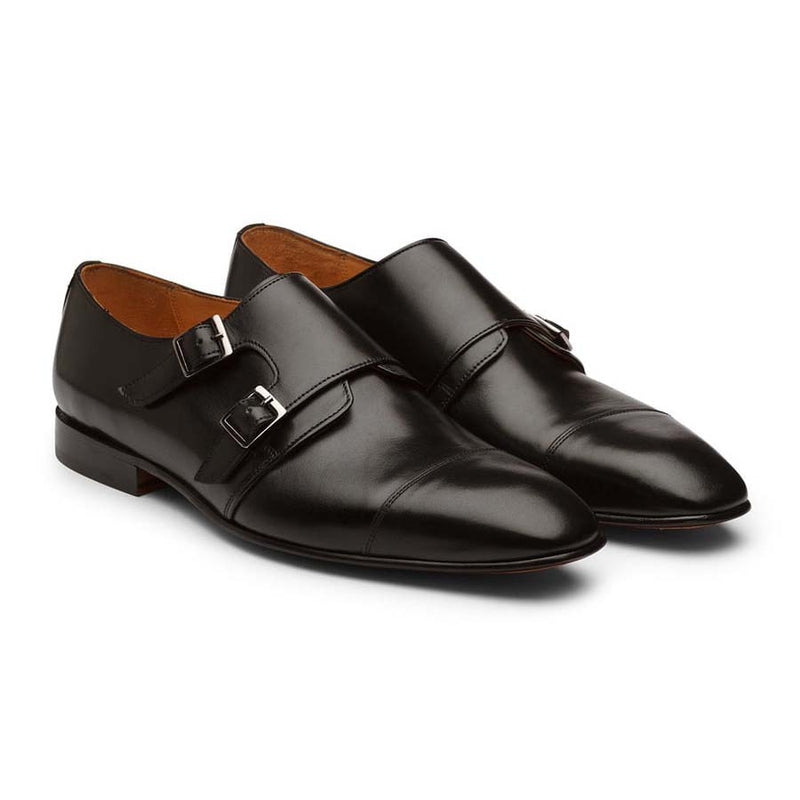 Black Square Toe Sleek Double Monk Straps