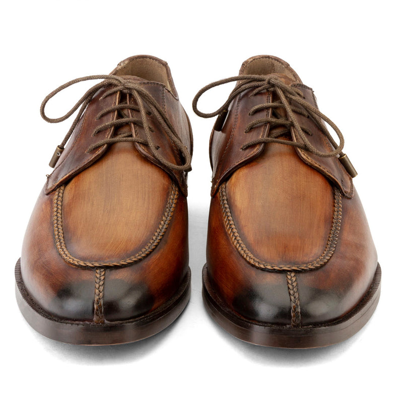 Tan Wooden Handpainted Patina Apron Toe Derby