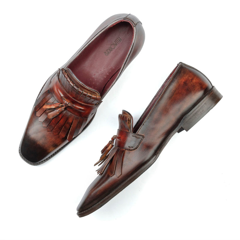 Tan Handpainted Marble Patina Fringe Tassel Loafer
