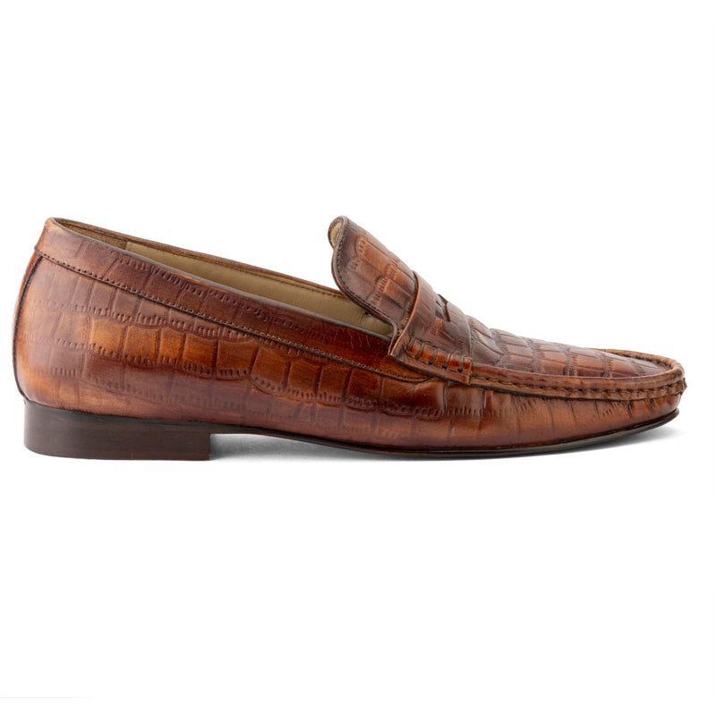 Tan Handapinted Patina Crocodile detail Moccasin