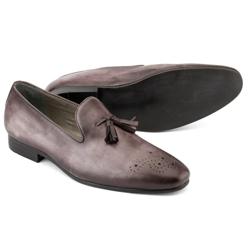 Slate Grey Handpainted Patina Tassel Loafer