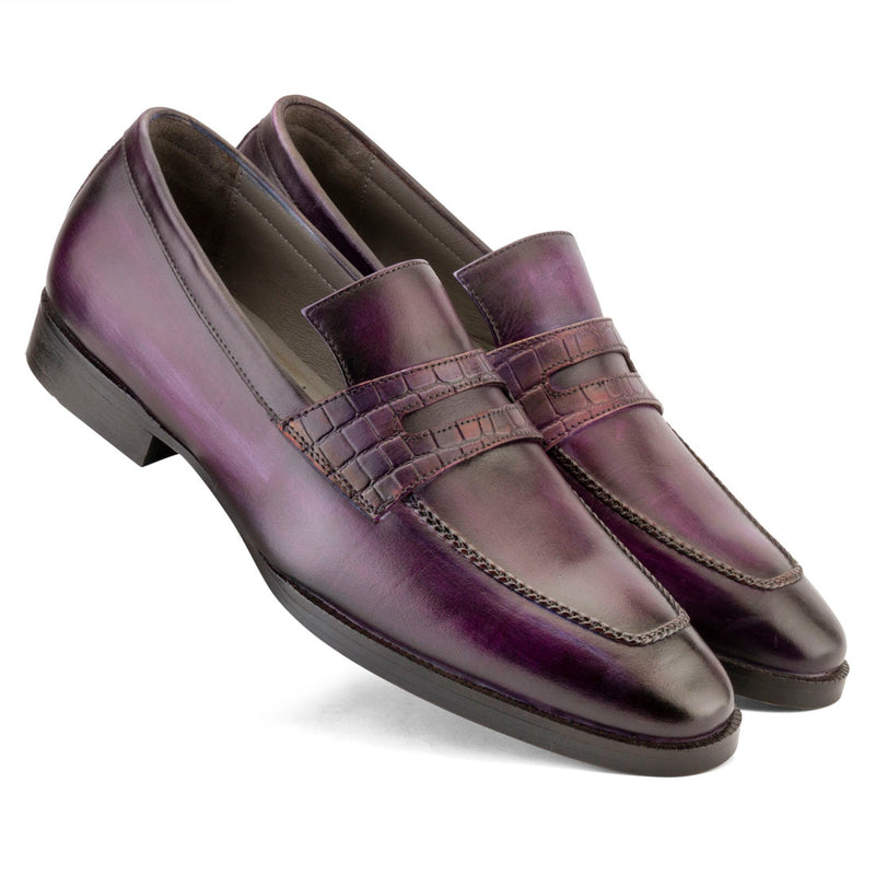 Purple Handpainted Patina Penny Loafer with Croco Saddle