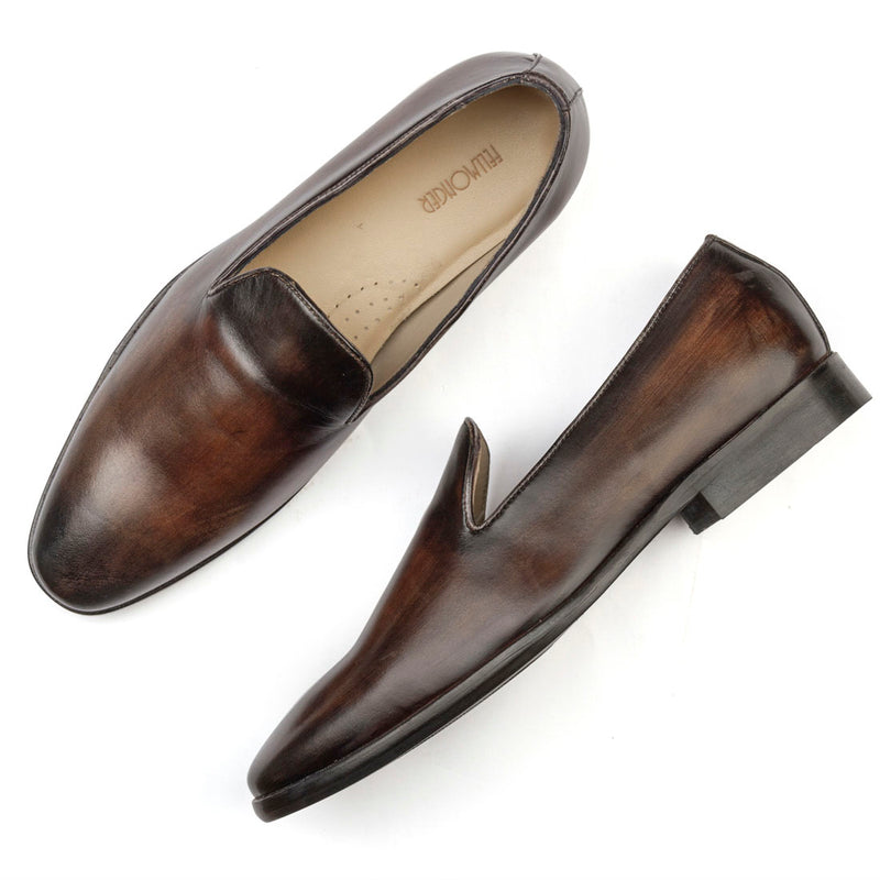 Brown Oak Handpainted Patina Slip On
