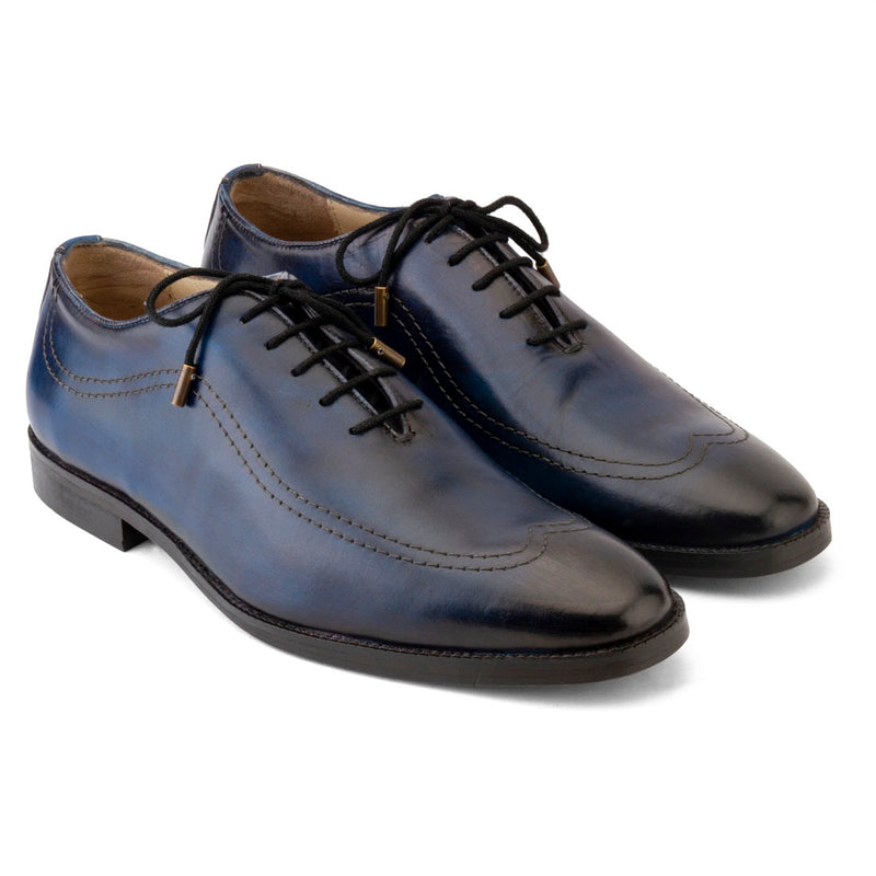 Blue Handpainted Patina Oxford with Stitch detail