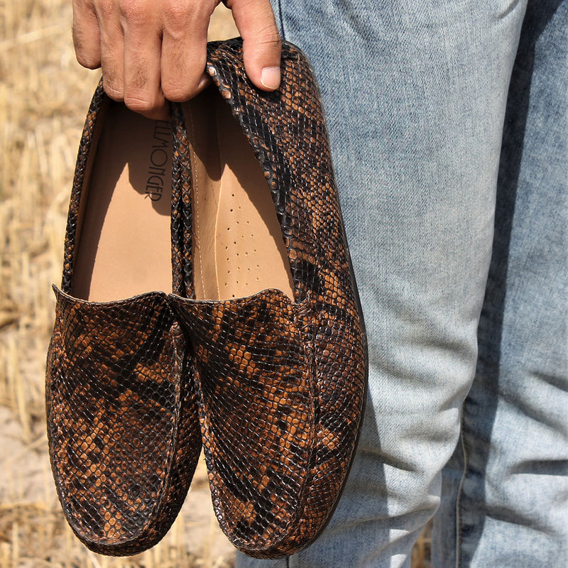 Snake Print Exotic Loafers