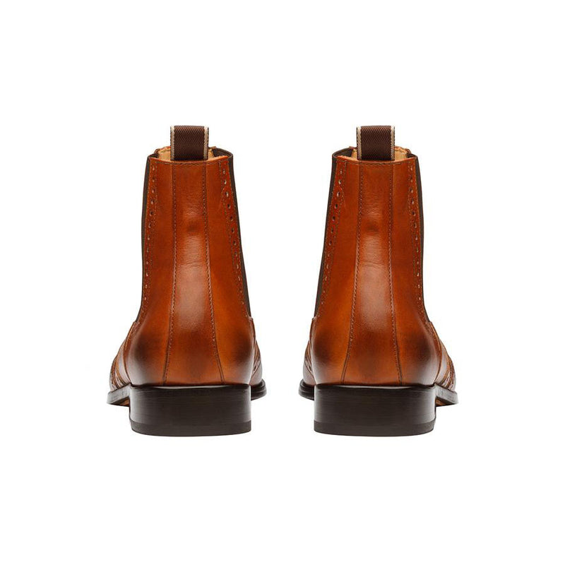 Tan Wingtip Detail  Chelsea Boots