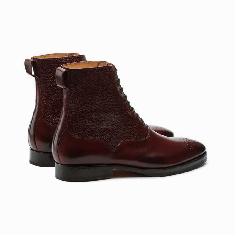 Burgundy Pebble Grain Medallion Boots
