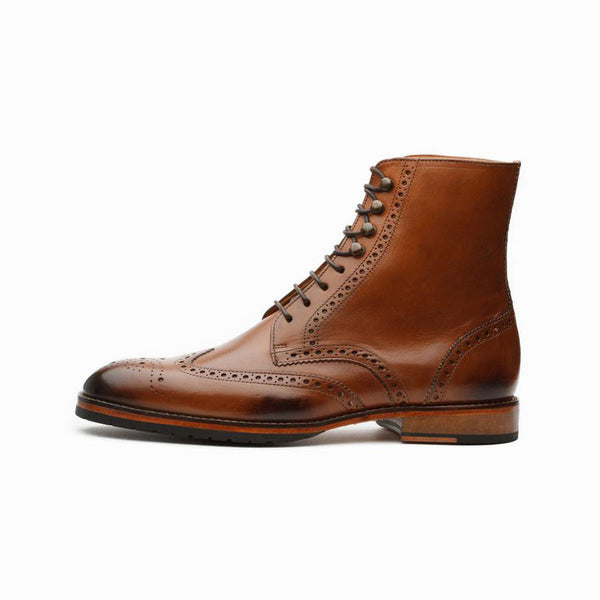 Tan Wingtip Derby Boots