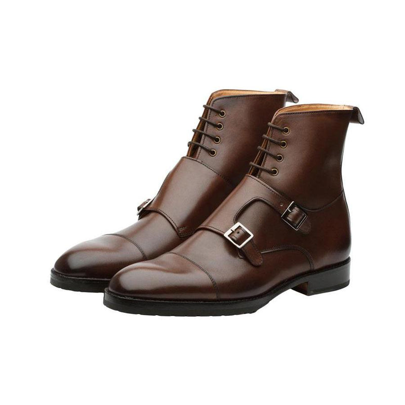 Brown Double Buckle Boots