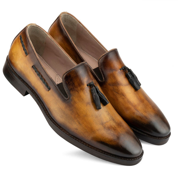 Tan Patina Tassel Loafer