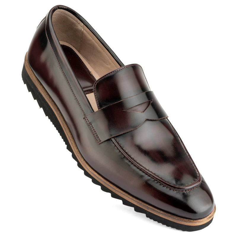 Brushed Burgundy Sporty Sole Loafers