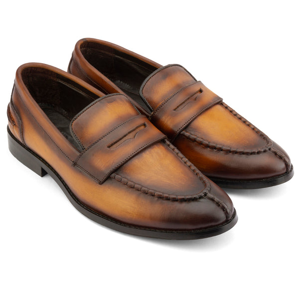 TAN PATINA APRON TOE PENNY LOAFERS