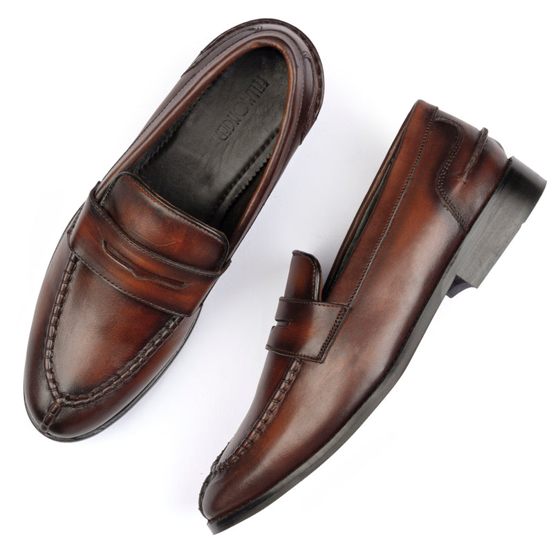 BROWN WOODEN  PATINA APRON TOE PENNY LOAFERS