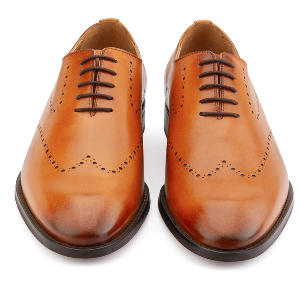 TAN PUNCHED WHOLECUT OXFORDS