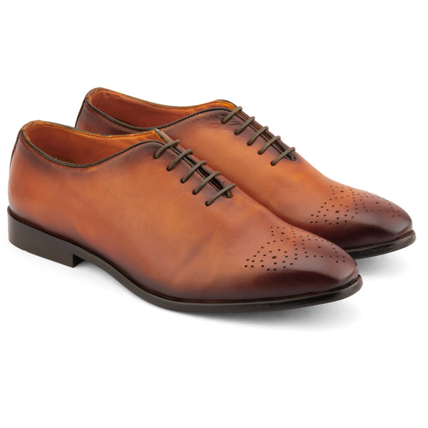 TAN PATINA MEDALLION WHOLECUT OXFORD