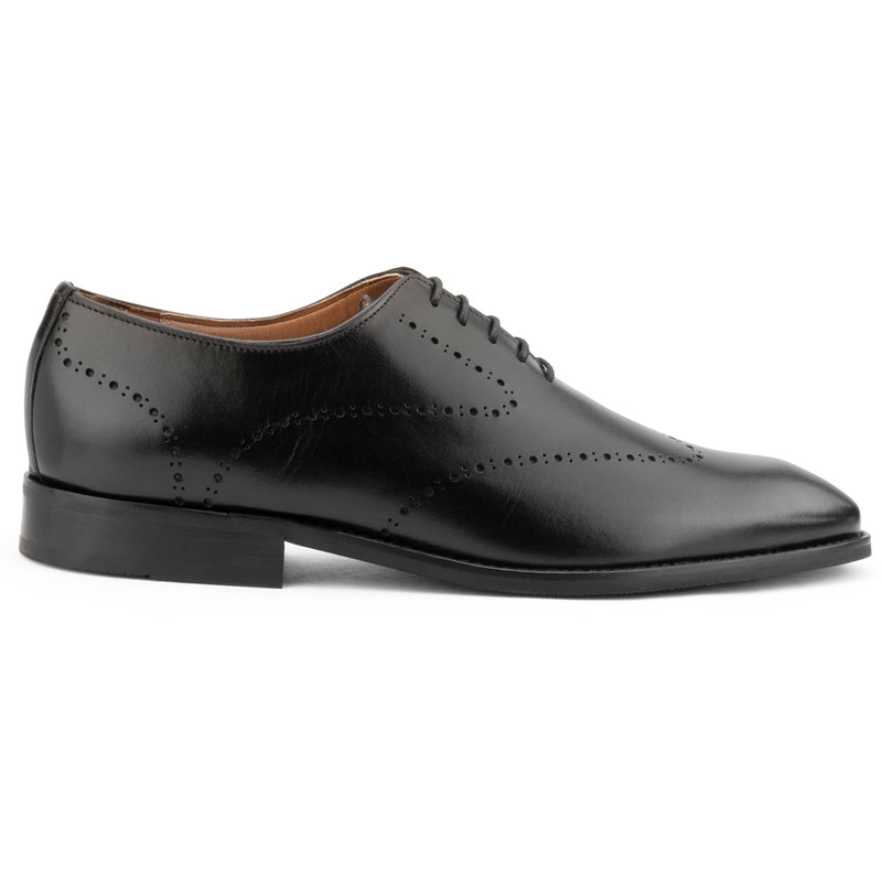 BLACK PUNCHED WHOLECUT OXFORDS
