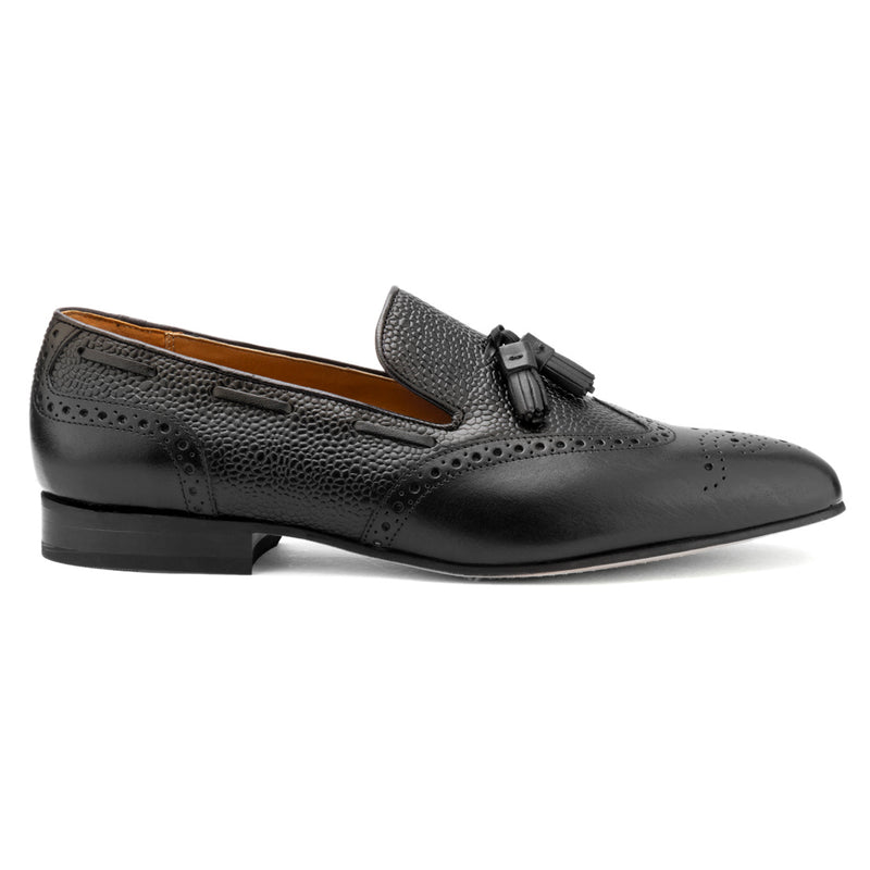 Black Pebble Grain Tassel Loafer