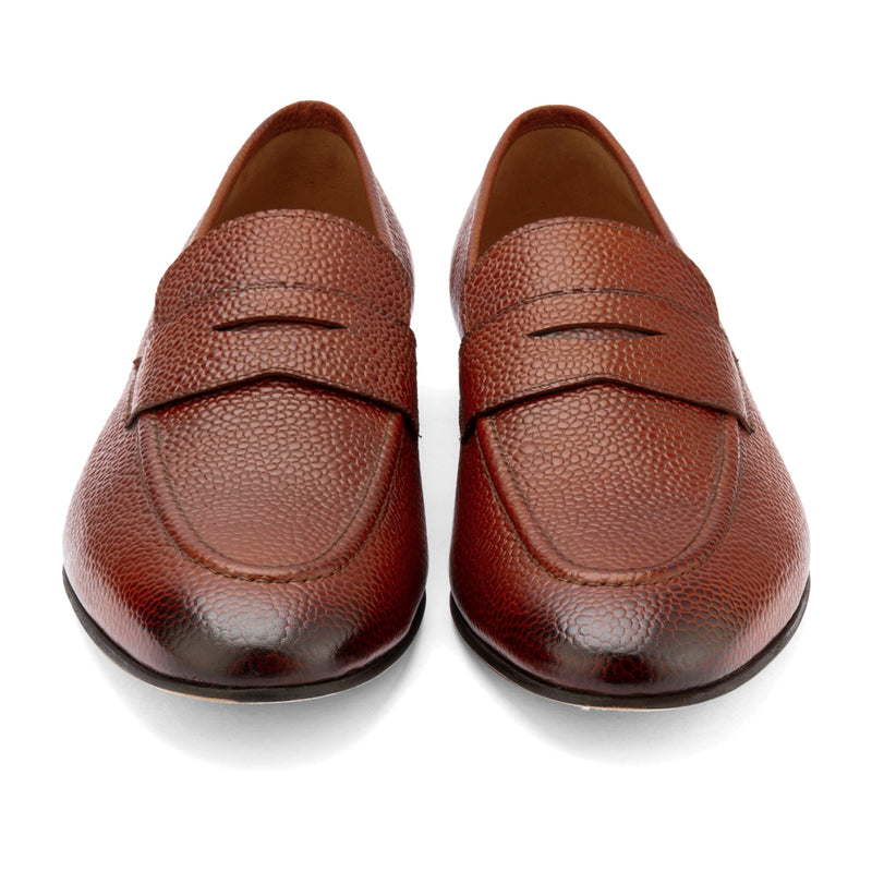 Dark Tan Pebble Grain Penny Loafers