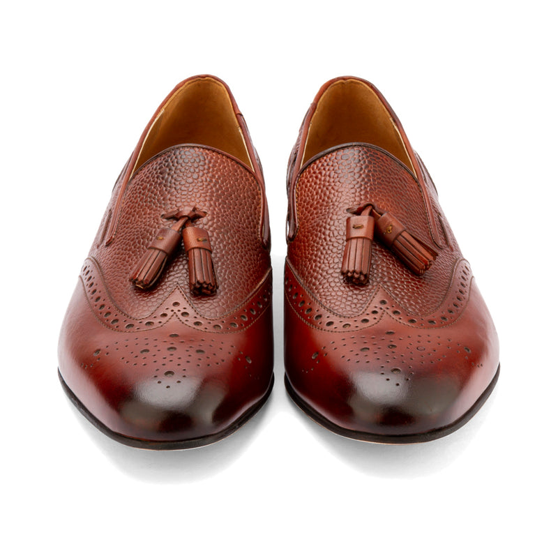 Brown Pebble Grain Tassel Loafer