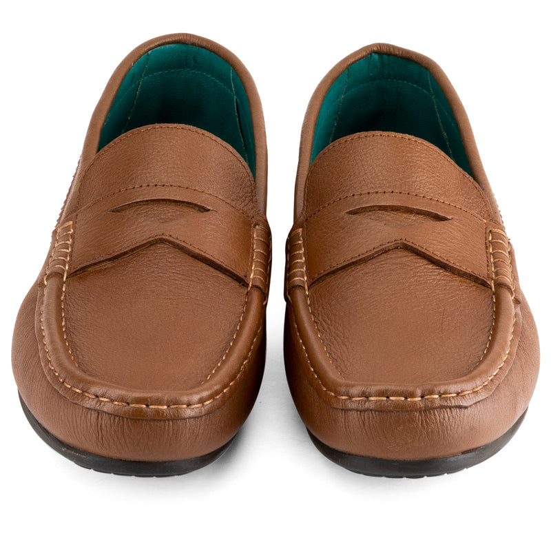 Tan Milled Penny Loafers
