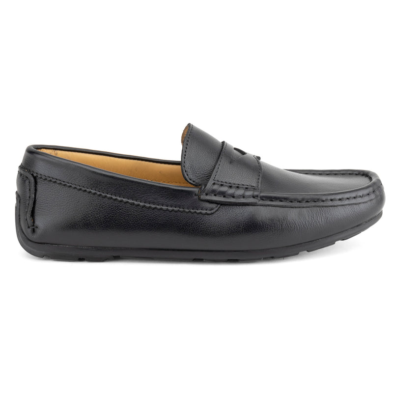 Black Milled Penny Loafers