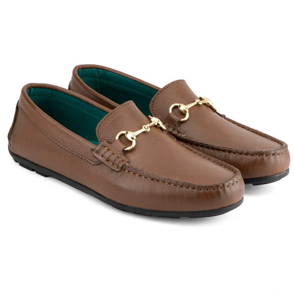 Tan Milled Classic Buckle Loafers