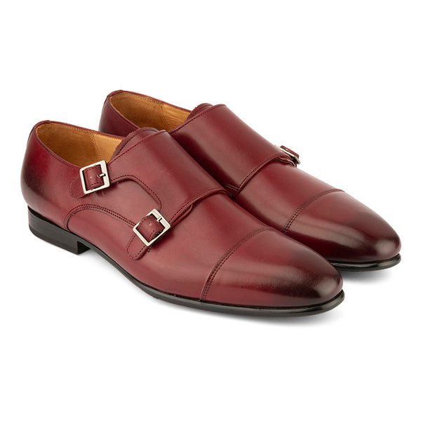 Burgundy Sleek Captoe Double Monk Straps
