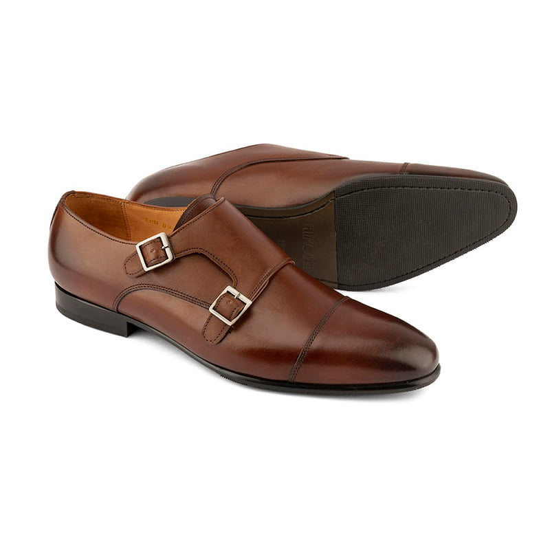 Brown Sleek Captoe Double Monk Oxfords