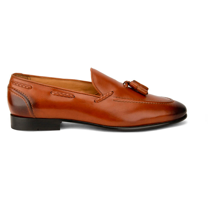 Tan Cigar Tassel Loafers