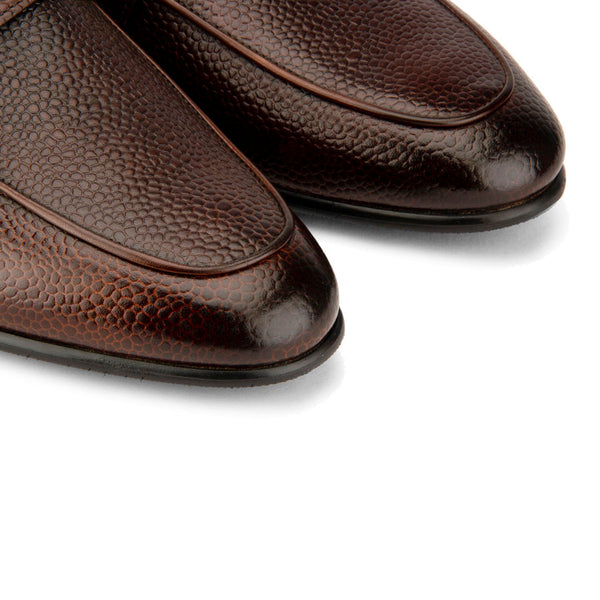 Brown Grain Buckle Loafers