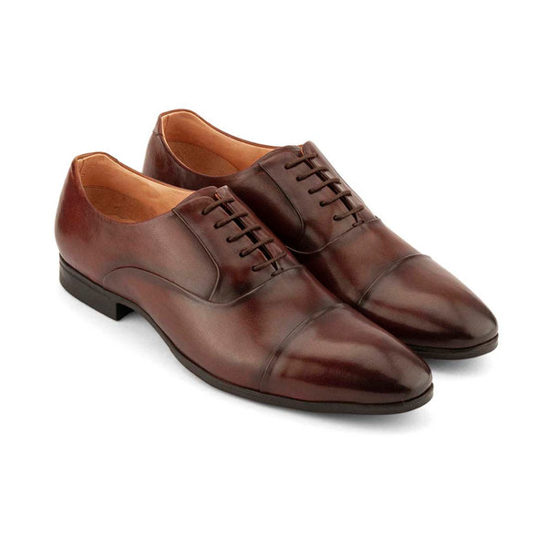 Wood Brown Cap Toe Oxfords