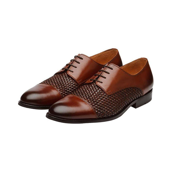 Cognac Braided Toecap Derbies