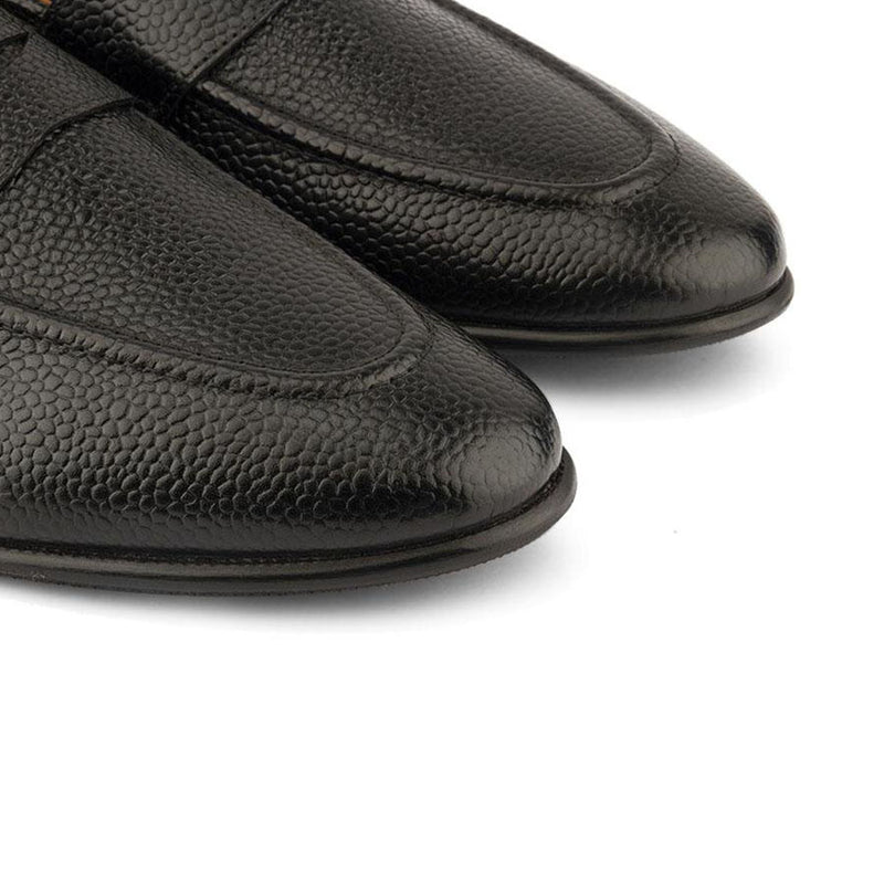 Black Grain Penny Loafers