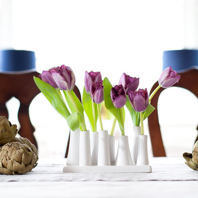 Pooley 2 - Chive | Fully Glazed, Purple Tulip, Flower Arrangement,  8 Tube Bud Vase, Attached To On White Base.