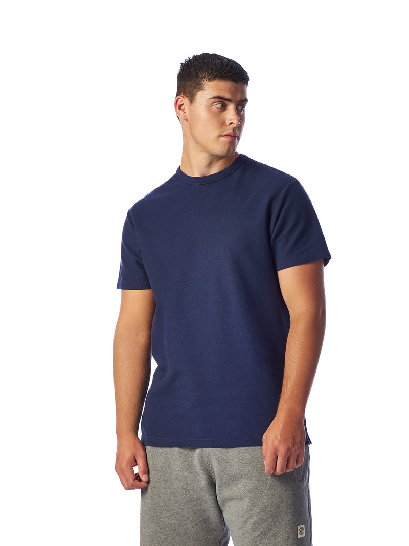 Model Shot Close Up - Admiral Sporting Goods | Belgrave Waffle T-shirt (Hawk Navy)