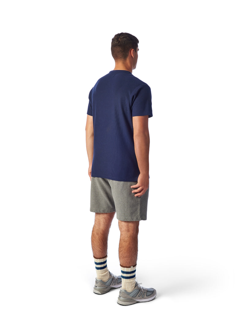 Model Shot Back- Admiral Sporting Goods | Belgrave Waffle T-shirt (Hawk Navy)