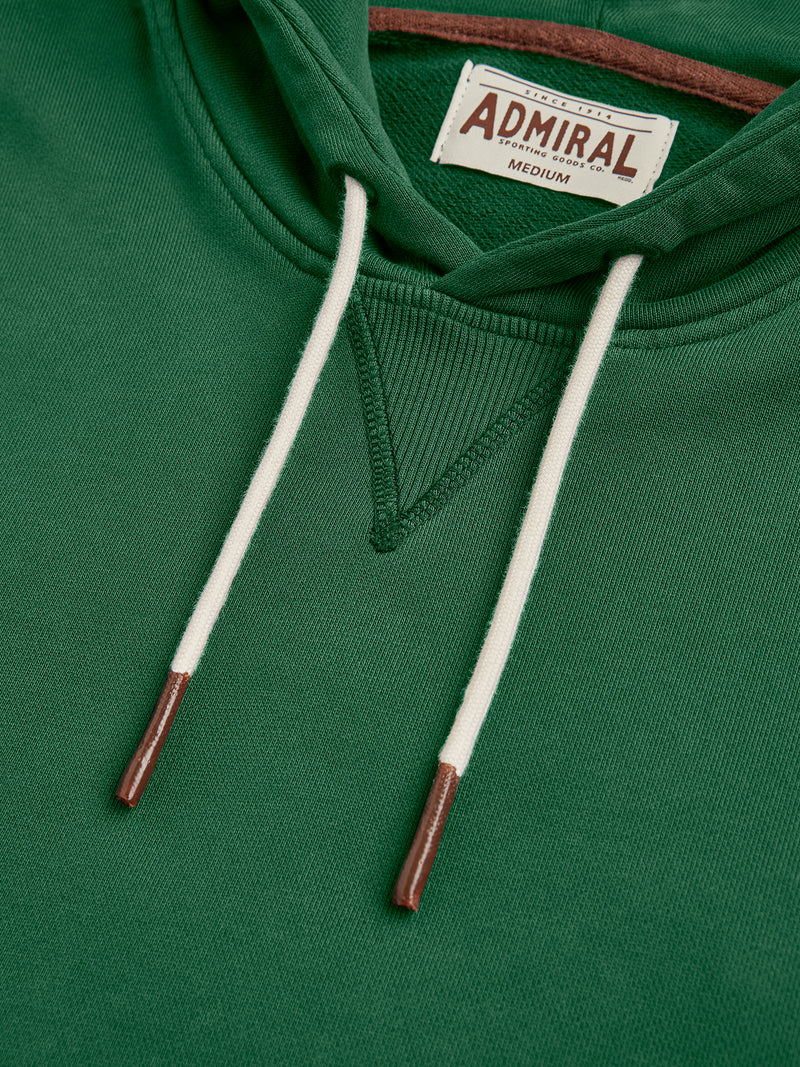 Flat Lay Detail Collar - Admiral Sporting Goods | Braunston Hoodie (Harrier Green)