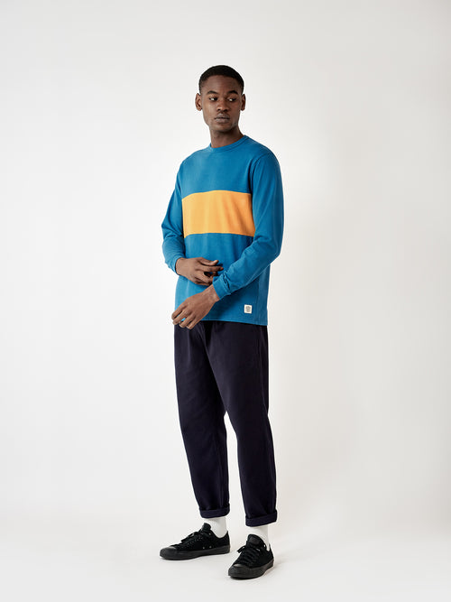 Warren Long Sleeve T-shirt - BUZZARD BLUE/ SUN YELLOW